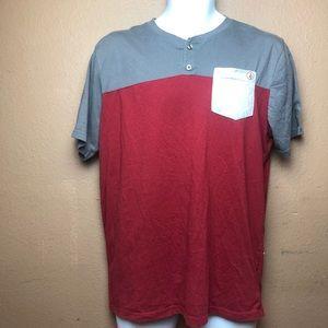 Volcom Henley Pocket Short Sleeve Shirt Sz L